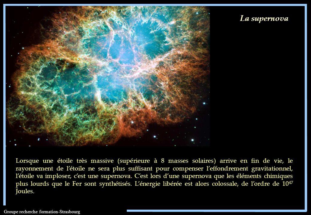 Groupe recherche formation-Strasbourg La supernova Lorsque une étoile très massive (supérieure à 8 masses solaires) arrive en fin de vie, le rayonneme