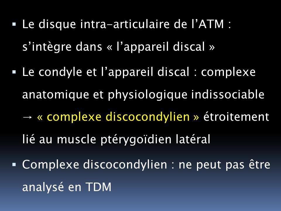 Le disque intra-articulaire de lATM : sintègre dans « lappareil discal » Le condyle et lappareil discal : complexe anatomique et physiologique indisso