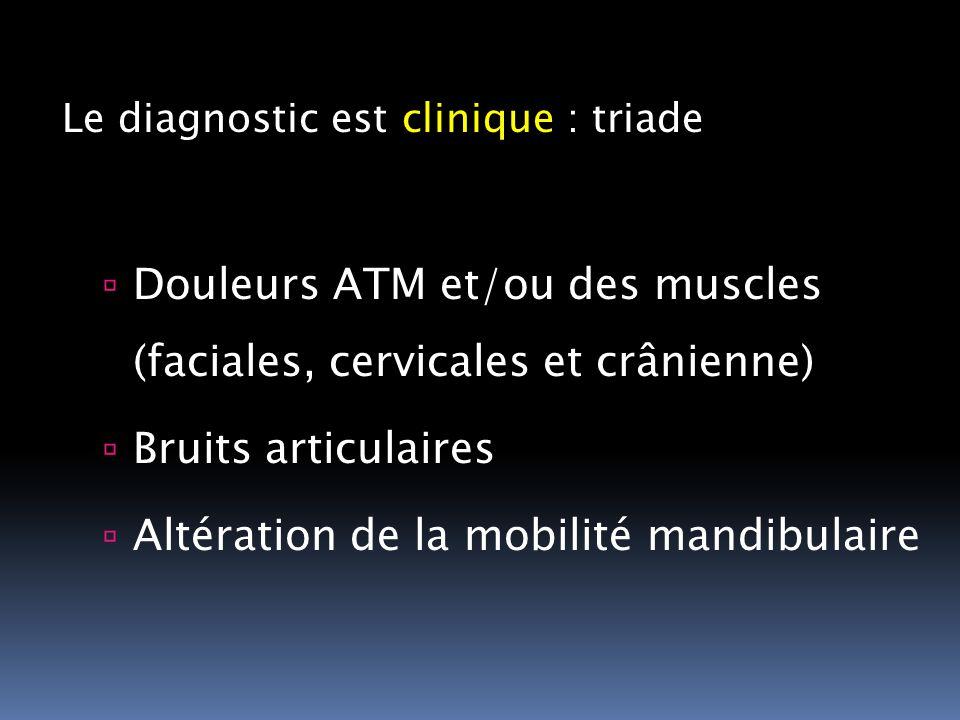 Le diagnostic est clinique : triade Douleurs ATM et/ou des muscles (faciales, cervicales et crânienne) Bruits articulaires Altération de la mobilité m