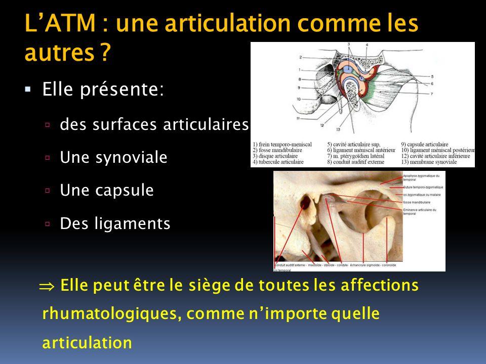 LATM : une articulation comme les autres ? Elle présente: des surfaces articulaires Une synoviale Une capsule Des ligaments Elle peut être le siège de
