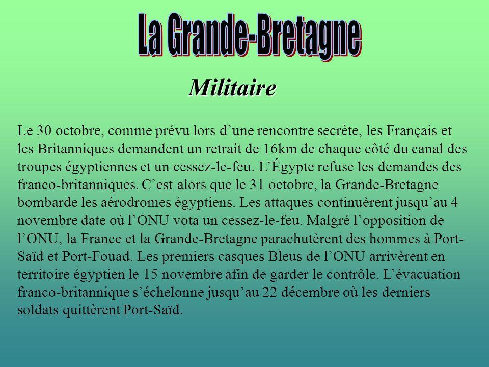 Militaire Le 30 octobre, comme prévu lors dune rencontre secrète, les Français et les Britanniques demandent un retrait de 16km de chaque côté du cana