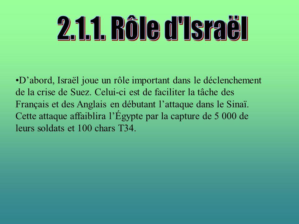 Dabord, Israël joue un rôle important dans le déclenchement de la crise de Suez. Celui-ci est de faciliter la tâche des Français et des Anglais en déb