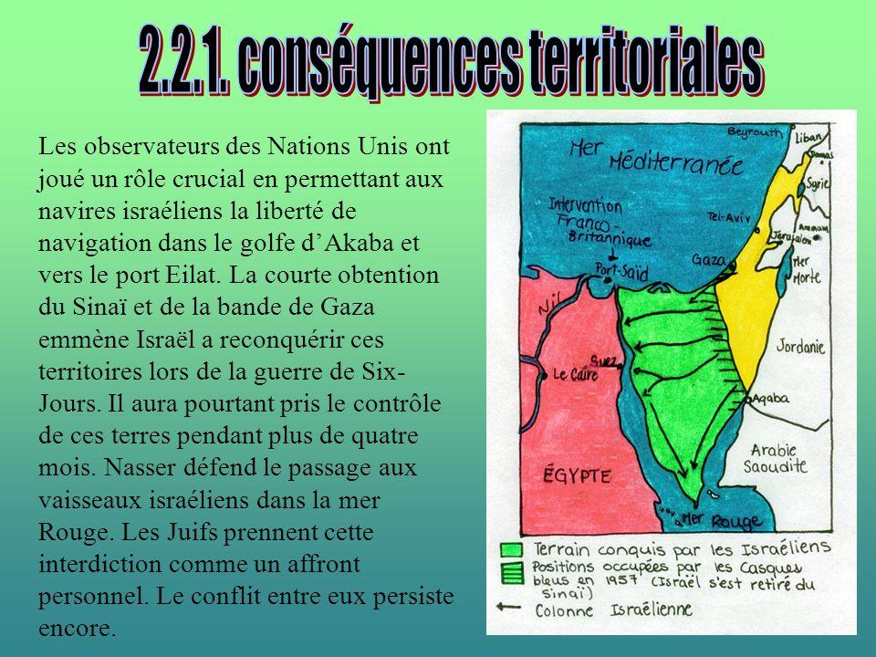Les observateurs des Nations Unis ont joué un rôle crucial en permettant aux navires israéliens la liberté de navigation dans le golfe dAkaba et vers