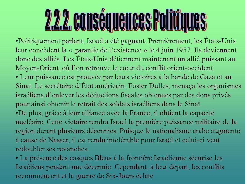 Politiquement parlant, Israël a été gagnant. Premièrement, les États-Unis leur concèdent la « garantie de lexistence » le 4 juin 1957. Ils deviennent