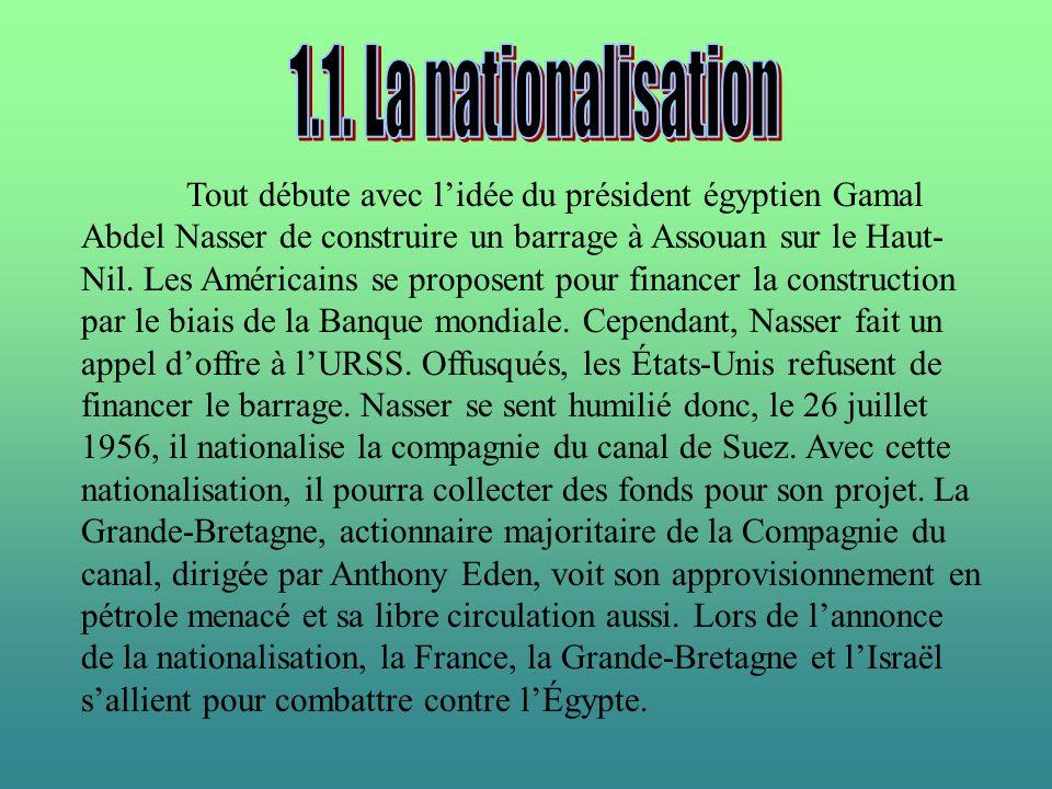 Tout débute avec lidée du président égyptien Gamal Abdel Nasser de construire un barrage à Assouan sur le Haut- Nil. Les Américains se proposent pour