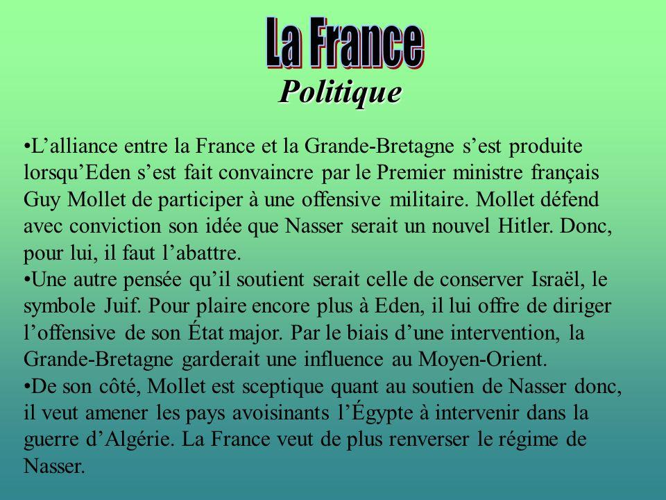 Lalliance entre la France et la Grande-Bretagne sest produite lorsquEden sest fait convaincre par le Premier ministre français Guy Mollet de participe