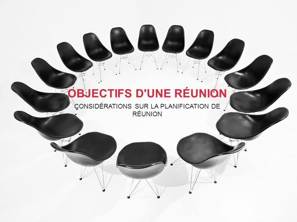 OBJECTIFS D UNE RÉUNION CONSIDÉRATIONS SUR LA PLANIFICATION DE RÉUNION