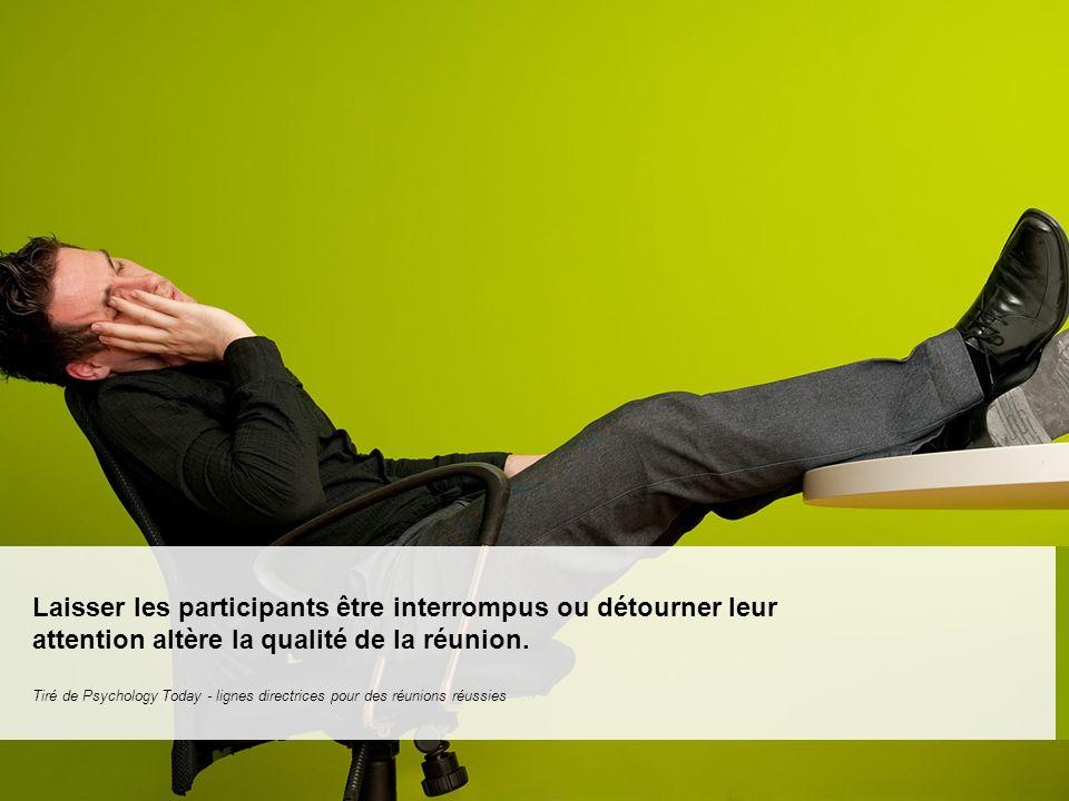 Laisser les participants être interrompus ou détourner leur attention altère la qualité de la réunion.