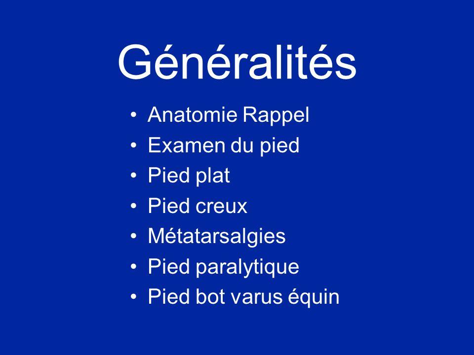 Généralités Anatomie Rappel Examen du pied Pied plat Pied creux Métatarsalgies Pied paralytique Pied bot varus équin