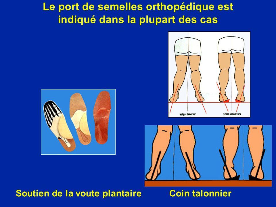Le port de semelles orthopédique est indiqué dans la plupart des cas Soutien de la voute plantaireCoin talonnier