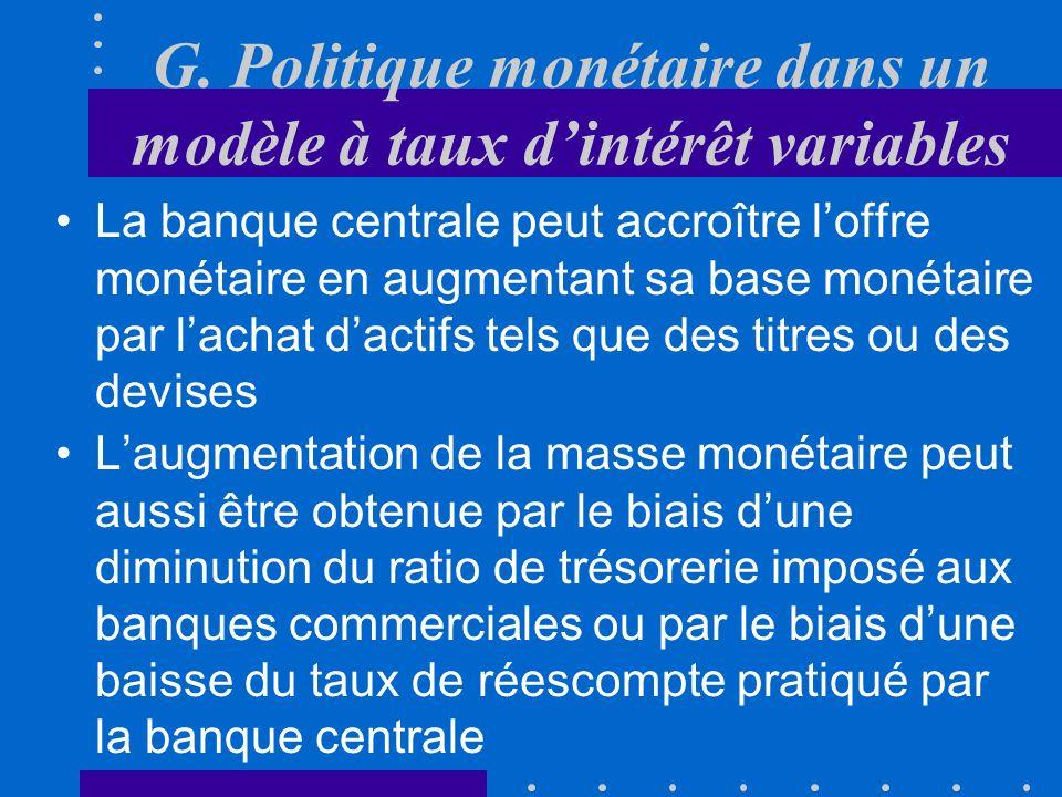 F. Politique budgétaire dans un modèle à taux dintérêt variables –la demande de monnaie spéculation est peu sensible à i Plutôt que dagir sur la deman