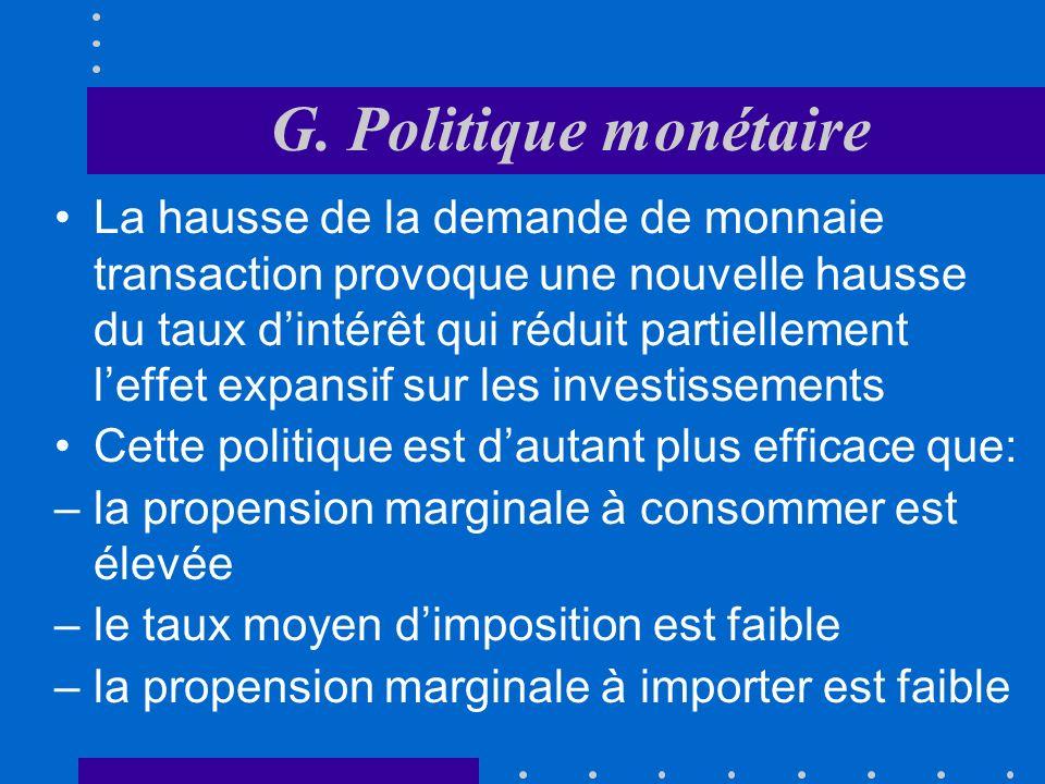 G. Politique monétaire Laugmentation de l offre de monnaie se traduit par une baisse des taux dintérêt (et un accroissement du cours des titres) La ba