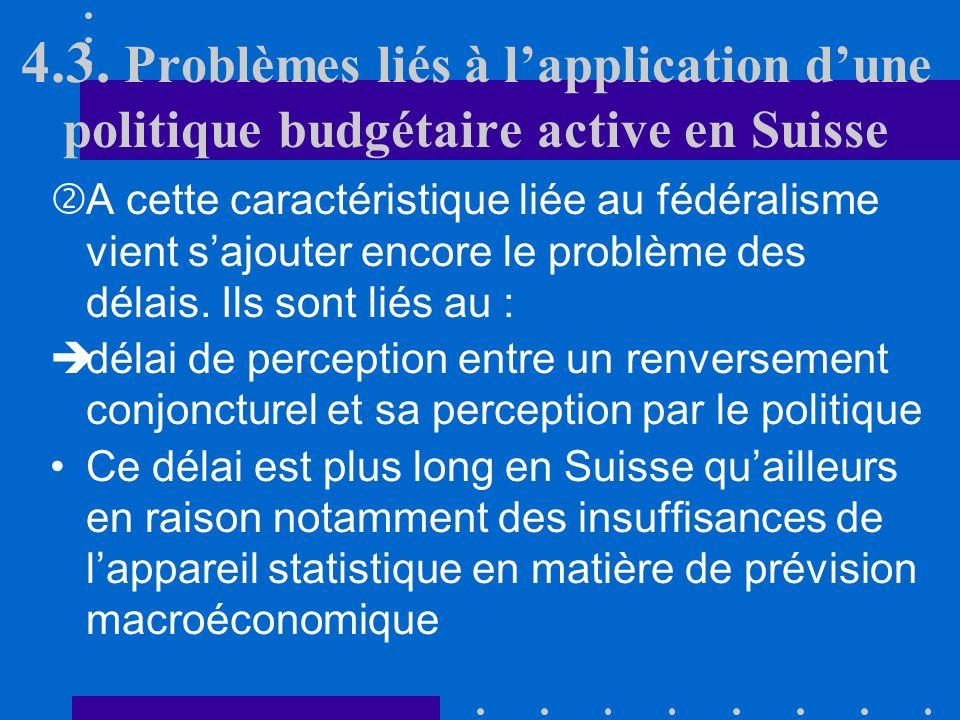 4.3. Problèmes liés à lapplication dune politique budgétaire active en Suisse En Suisse, les dépenses totales des trois niveaux de collectivités publi