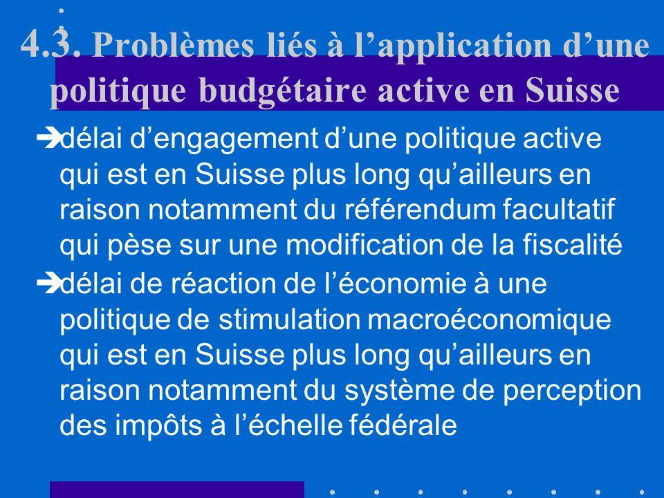 4.3. Problèmes liés à lapplication dune politique budgétaire active en Suisse A cette caractéristique liée au fédéralisme vient sajouter encore le pro