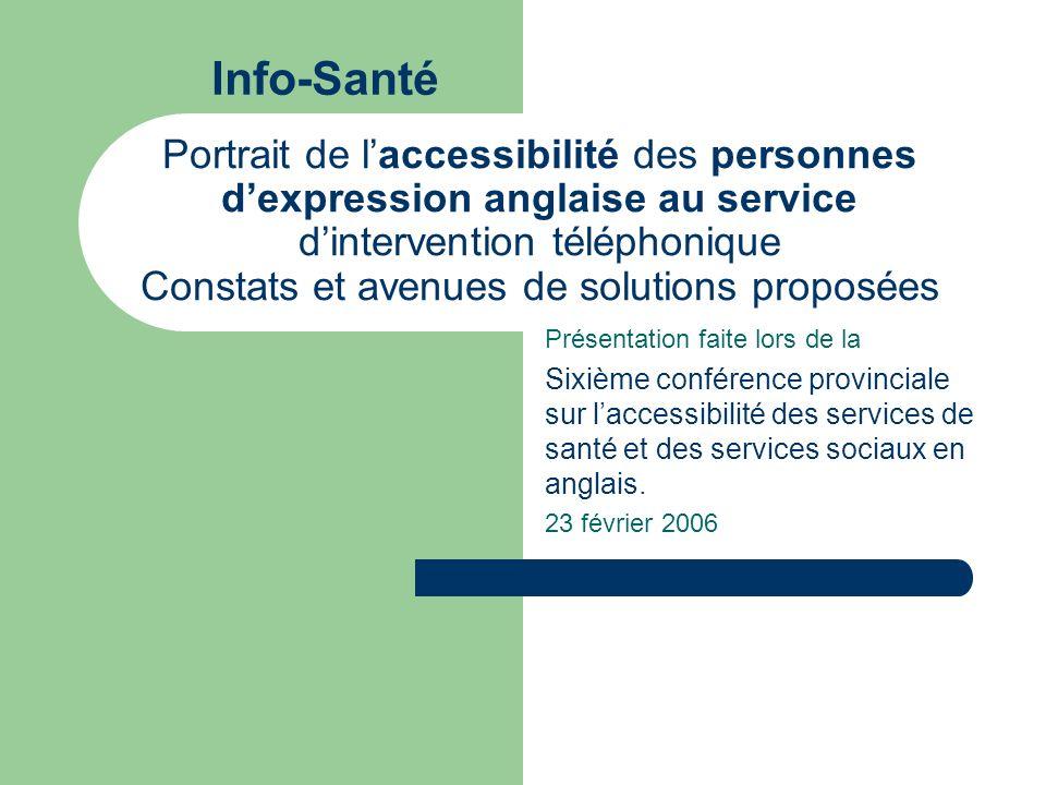 Portrait de laccessibilité des personnes dexpression anglaise au service dintervention téléphonique Constats et avenues de solutions proposées Présent