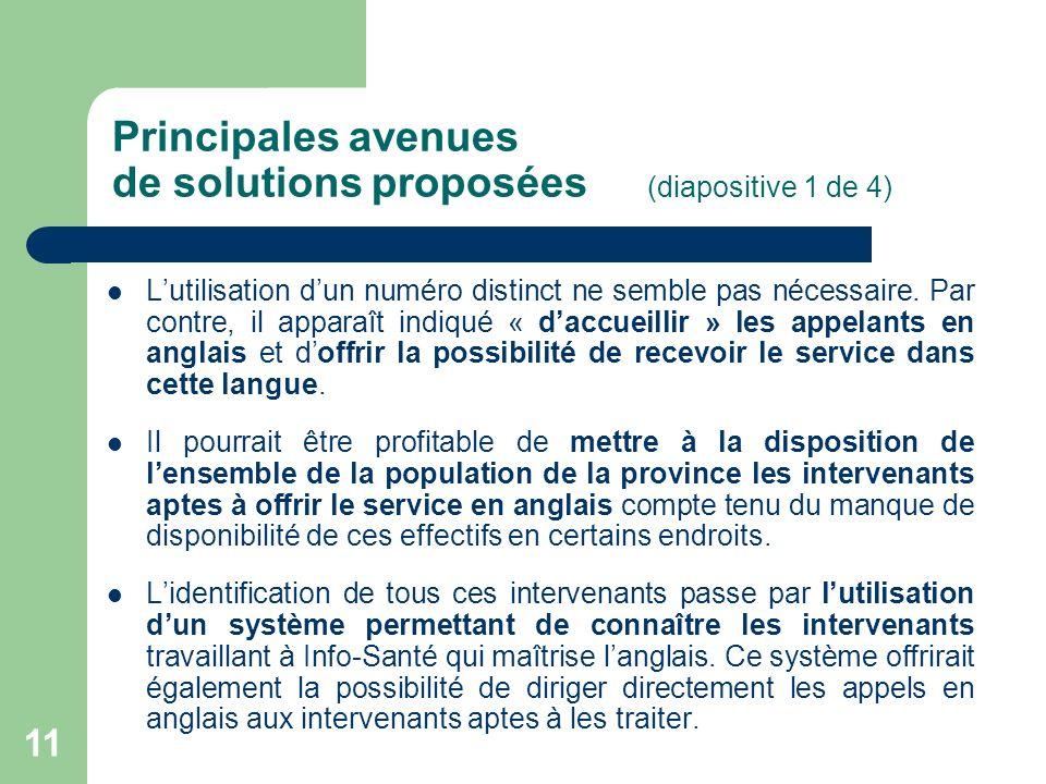 11 Principales avenues de solutions proposées (diapositive 1 de 4) Lutilisation dun numéro distinct ne semble pas nécessaire. Par contre, il apparaît