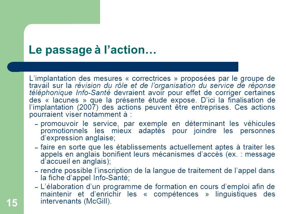 15 Le passage à laction… Limplantation des mesures « correctrices » proposées par le groupe de travail sur la révision du rôle et de lorganisation du