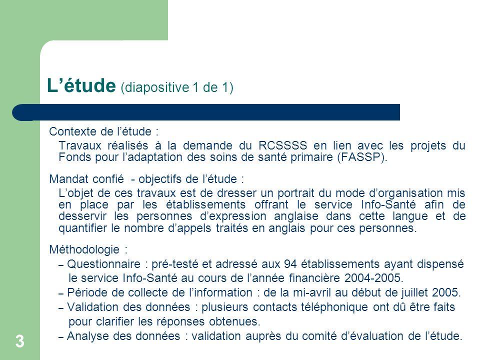 3 Létude (diapositive 1 de 1) Contexte de létude : Travaux réalisés à la demande du RCSSSS en lien avec les projets du Fonds pour ladaptation des soin