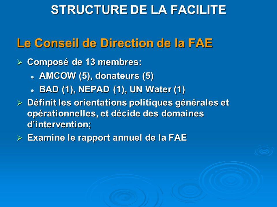 Le Conseil de Direction de la FAE Composé de 13 membres: Composé de 13 membres: AMCOW (5), donateurs (5) AMCOW (5), donateurs (5) BAD (1), NEPAD (1),