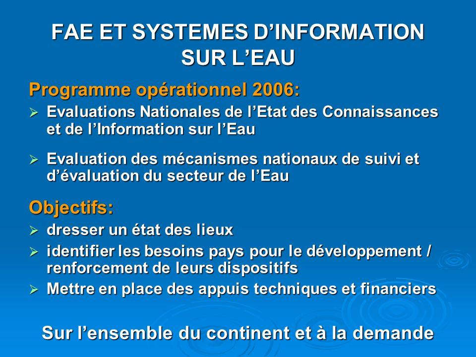 FAE ET SYSTEMES DINFORMATION SUR LEAU Programme opérationnel 2006: Evaluations Nationales de lEtat des Connaissances et de lInformation sur lEau Evalu