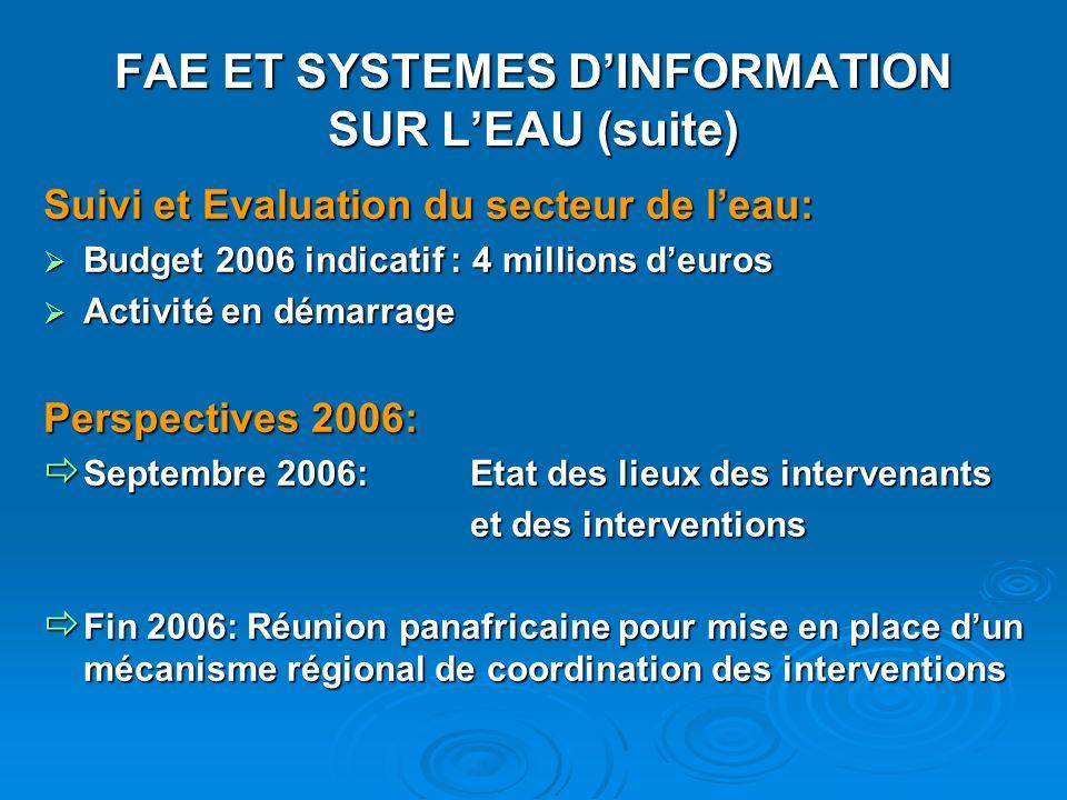 FAE ET SYSTEMES DINFORMATION SUR LEAU (suite) Suivi et Evaluation du secteur de leau: Budget 2006 indicatif : 4 millions deuros Budget 2006 indicatif