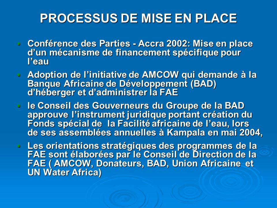 PROCESSUS DE MISE EN PLACE Conférence des Parties - Accra 2002: Mise en place dun mécanisme de financement spécifique pour leau Conférence des Parties