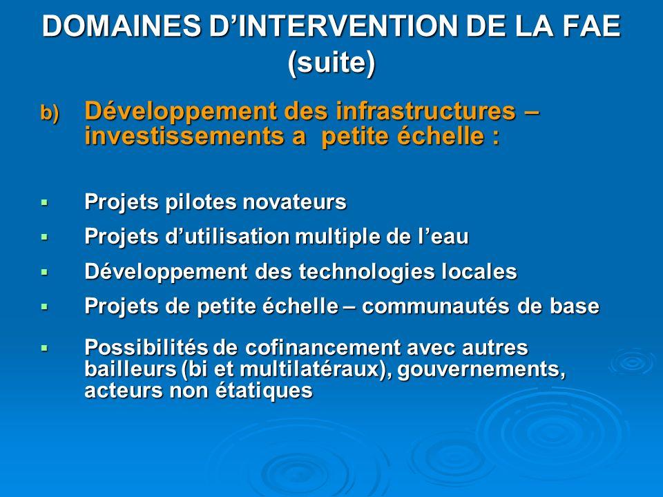 b) Développement des infrastructures – investissements a petite échelle : Projets pilotes novateurs Projets pilotes novateurs Projets dutilisation mul