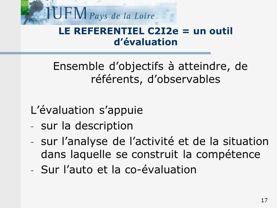 17 LE REFERENTIEL C2I2e = un outil dévaluation Ensemble dobjectifs à atteindre, de référents, dobservables Lévaluation sappuie - sur la description -