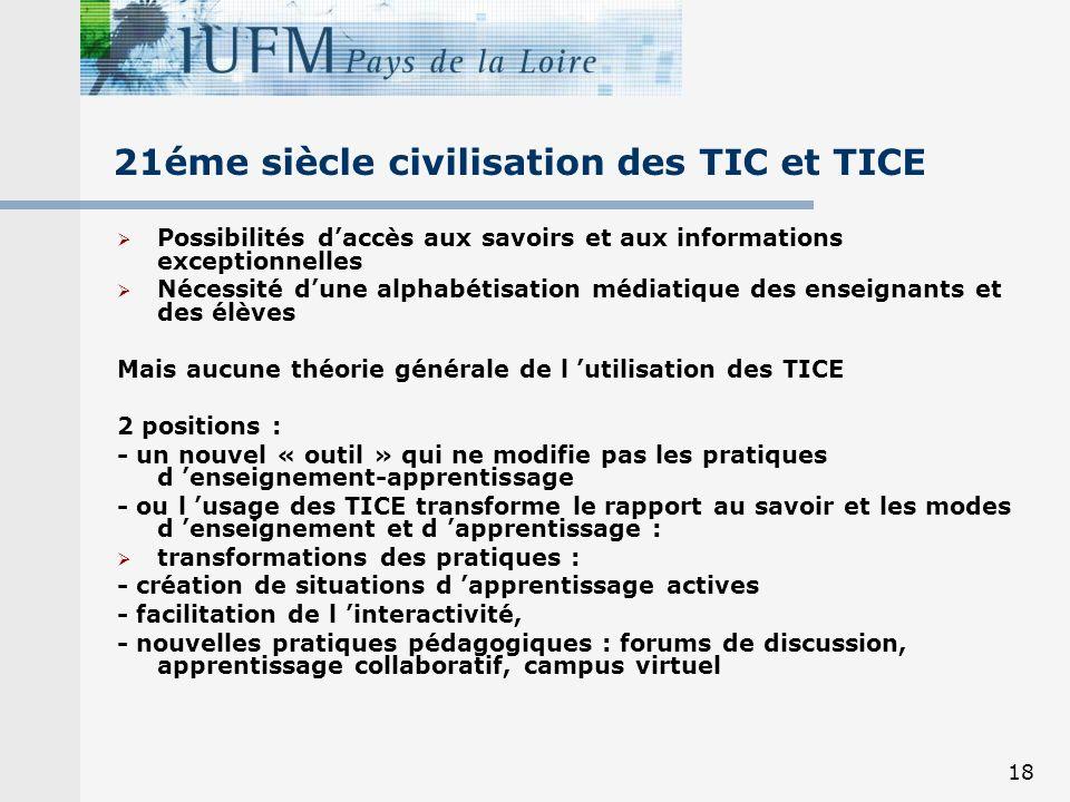 18 21éme siècle civilisation des TIC et TICE Possibilités daccès aux savoirs et aux informations exceptionnelles Nécessité dune alphabétisation médiat