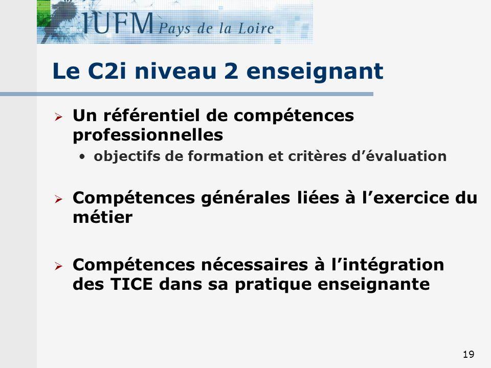 19 Le C2i niveau 2 enseignant Un référentiel de compétences professionnelles objectifs de formation et critères dévaluation Compétences générales liées à lexercice du métier Compétences nécessaires à lintégration des TICE dans sa pratique enseignante