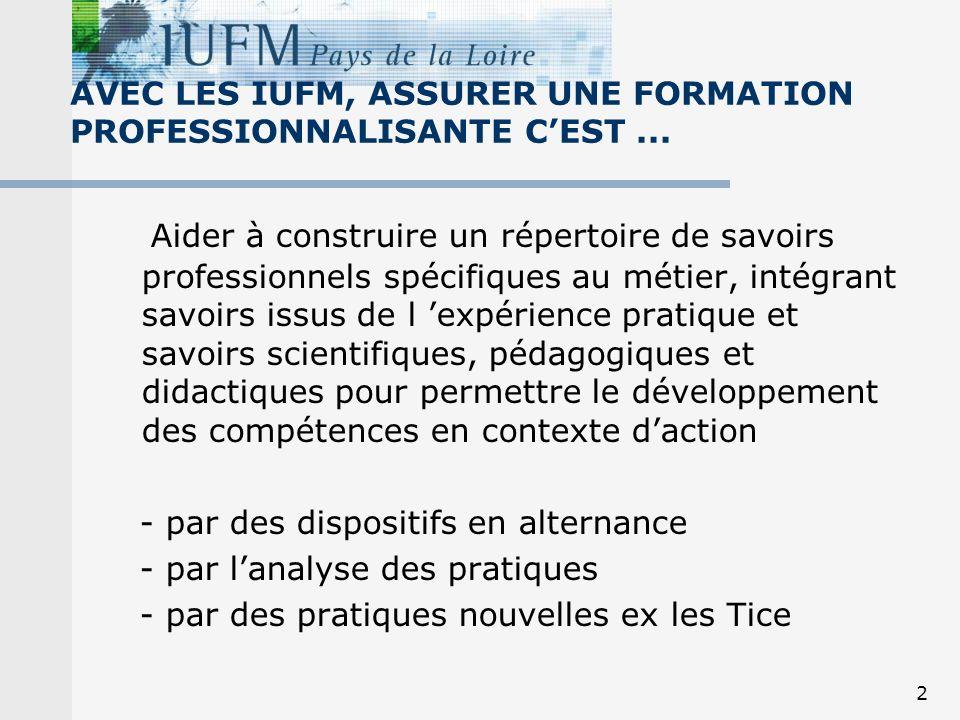 2 AVEC LES IUFM, ASSURER UNE FORMATION PROFESSIONNALISANTE CEST... Aider à construire un répertoire de savoirs professionnels spécifiques au métier, i