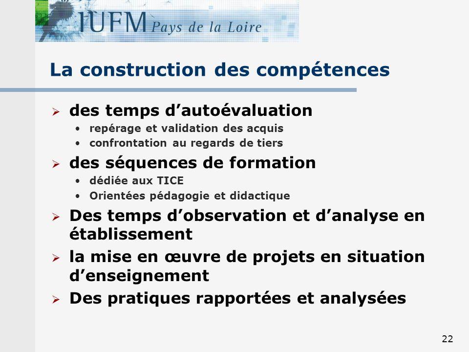 22 La construction des compétences des temps dautoévaluation repérage et validation des acquis confrontation au regards de tiers des séquences de form