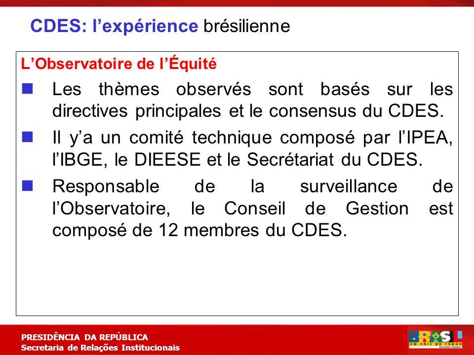 Planejamento Estratégico PRESIDÊNCIA DA REPÚBLICA Secretaria de Relações Institucionais CDES: lexpérience brésilienne LObservatoire de lÉquité Les thè