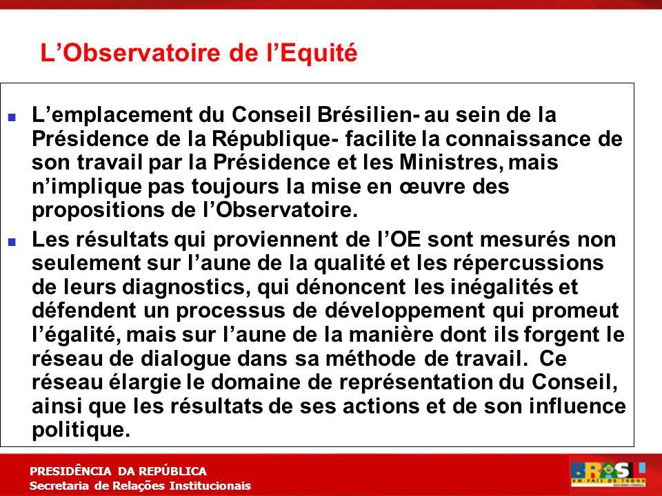 Planejamento Estratégico PRESIDÊNCIA DA REPÚBLICA Secretaria de Relações Institucionais LObservatoire de lEquité Lemplacement du Conseil Brésilien- au