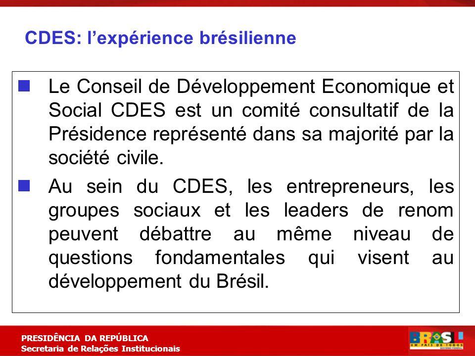 Planejamento Estratégico PRESIDÊNCIA DA REPÚBLICA Secretaria de Relações Institucionais CDES: lexpérience brésilienne Le Conseil de Développement Economique et Social CDES est un comité consultatif de la Présidence représenté dans sa majorité par la société civile.