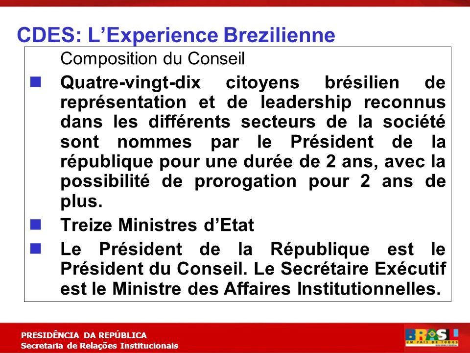 Planejamento Estratégico PRESIDÊNCIA DA REPÚBLICA Secretaria de Relações Institucionais CDES: LExperience Brezilienne Composition du Conseil Quatre-vi