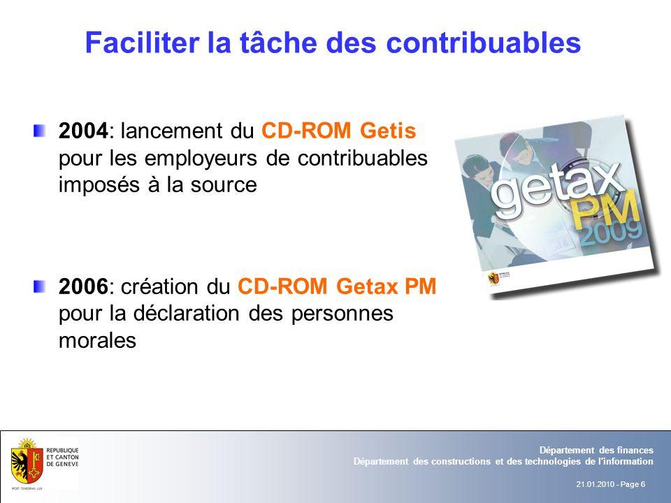 21.01.2010 - Page 6 Département des finances Département des constructions et des technologies de l'information 2004: lancement du CD-ROM Getis pour l