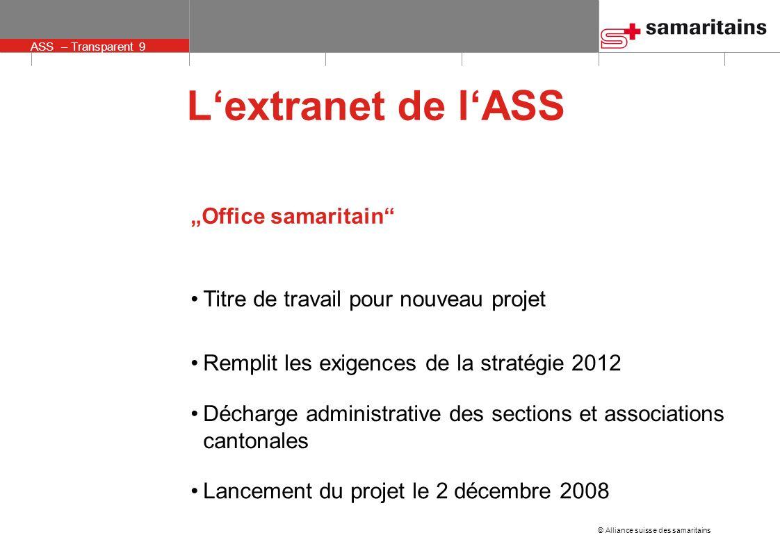 © Alliance suisse des samaritains ASS – Transparent 10 Lextranet de lASS Office samaritain Gestion des membres Outils Bourse déchange didées Transmission de ressources