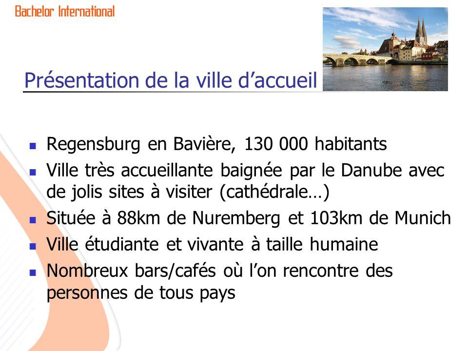 Présentation de la ville daccueil Regensburg en Bavière, 130 000 habitants Ville très accueillante baignée par le Danube avec de jolis sites à visiter