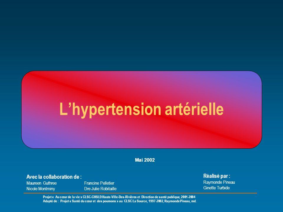 Lhypertension artérielle Réalisé par : Raymonde Pineau Ginette Turbide Avec la collaboration de : Maureen Guthree Francine Pelletier Nicole Montminy D