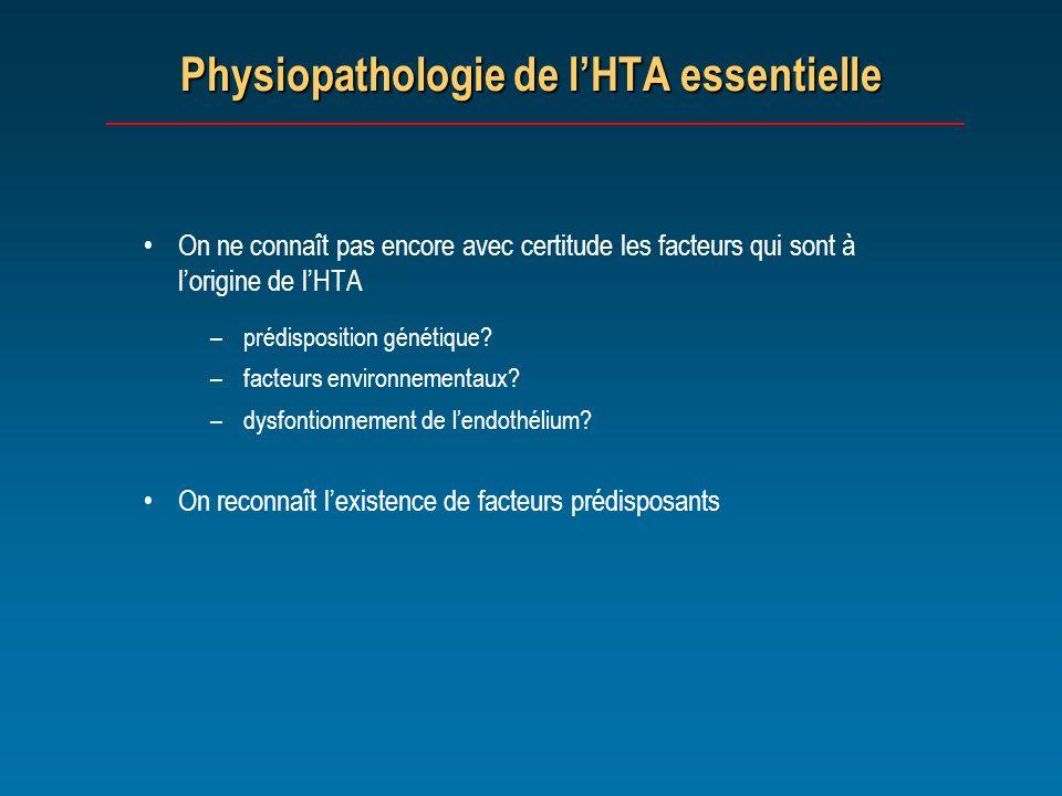 Physiopathologie de lHTA essentielle On ne connaît pas encore avec certitude les facteurs qui sont à lorigine de lHTA –prédisposition génétique? –fact