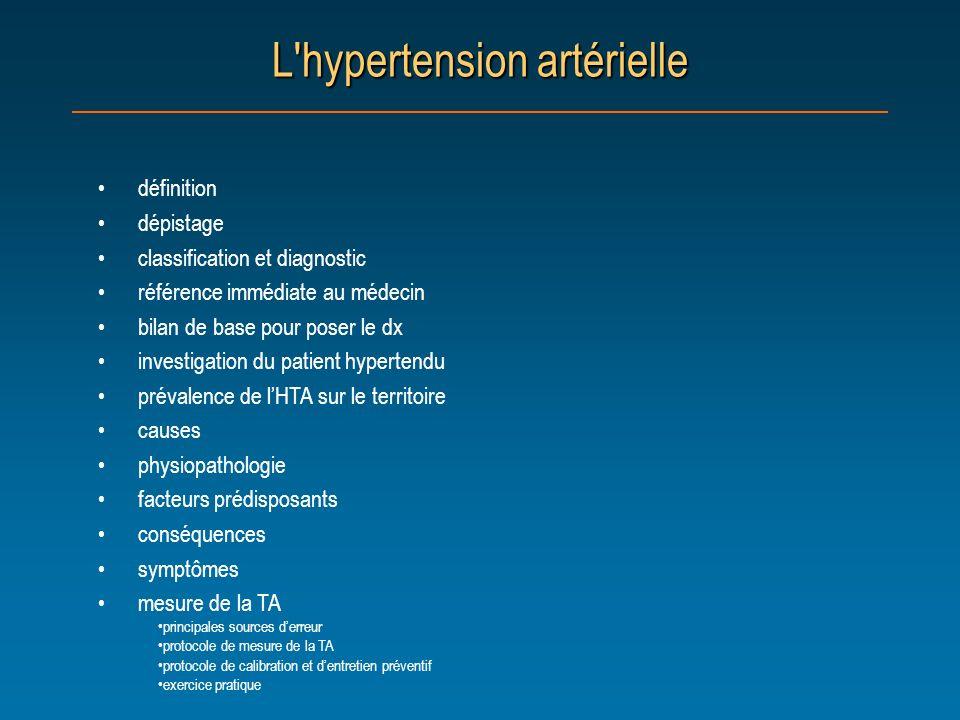 Définition de l hypertension artérielle Lhypertension est définie par: une tension artérielle égale ou supérieure à 140/90 mmHg lors de une à cinq visites, avec une moyenne de deux lectures par visite sur une période de six mois Référence: Guide thérapeutique de la Société québécoise dhypertension artérielle, deuxième édition, janvier 2002.