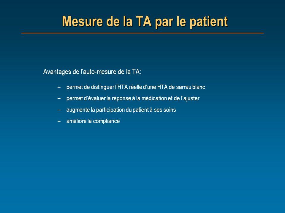 Mesure de la TA par le patient Avantages de lauto-mesure de la TA: –permet de distinguer lHTA réelle dune HTA de sarrau blanc –permet dévaluer la répo