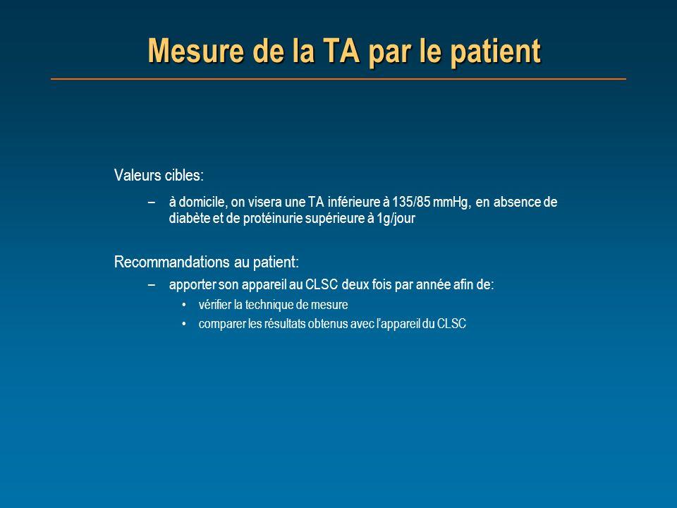 Mesure de la TA par le patient Valeurs cibles: –à domicile, on visera une TA inférieure à 135/85 mmHg, en absence de diabète et de protéinurie supérie