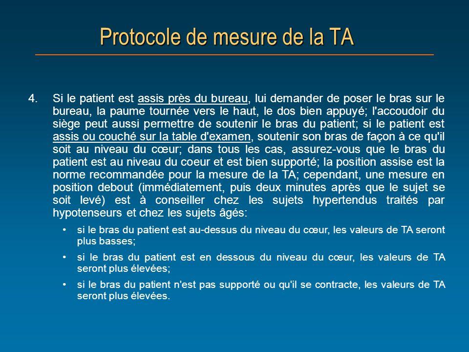 Protocole de mesure de la TA 4.Si le patient est assis près du bureau, lui demander de poser le bras sur le bureau, la paume tournée vers le haut, le