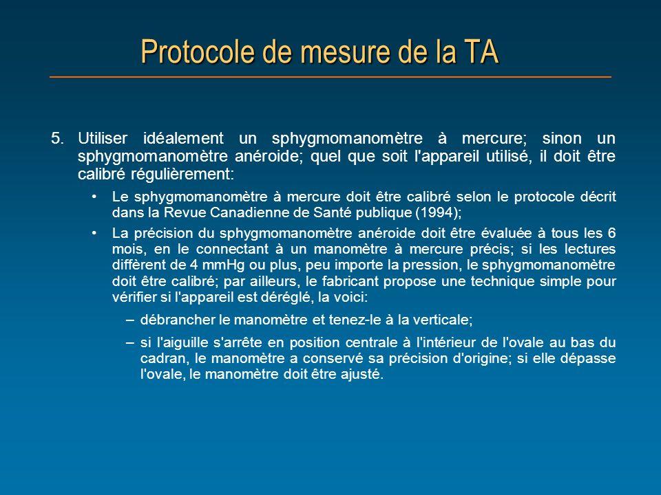 Protocole de mesure de la TA 5.Utiliser idéalement un sphygmomanomètre à mercure; sinon un sphygmomanomètre anéroide; quel que soit l'appareil utilisé