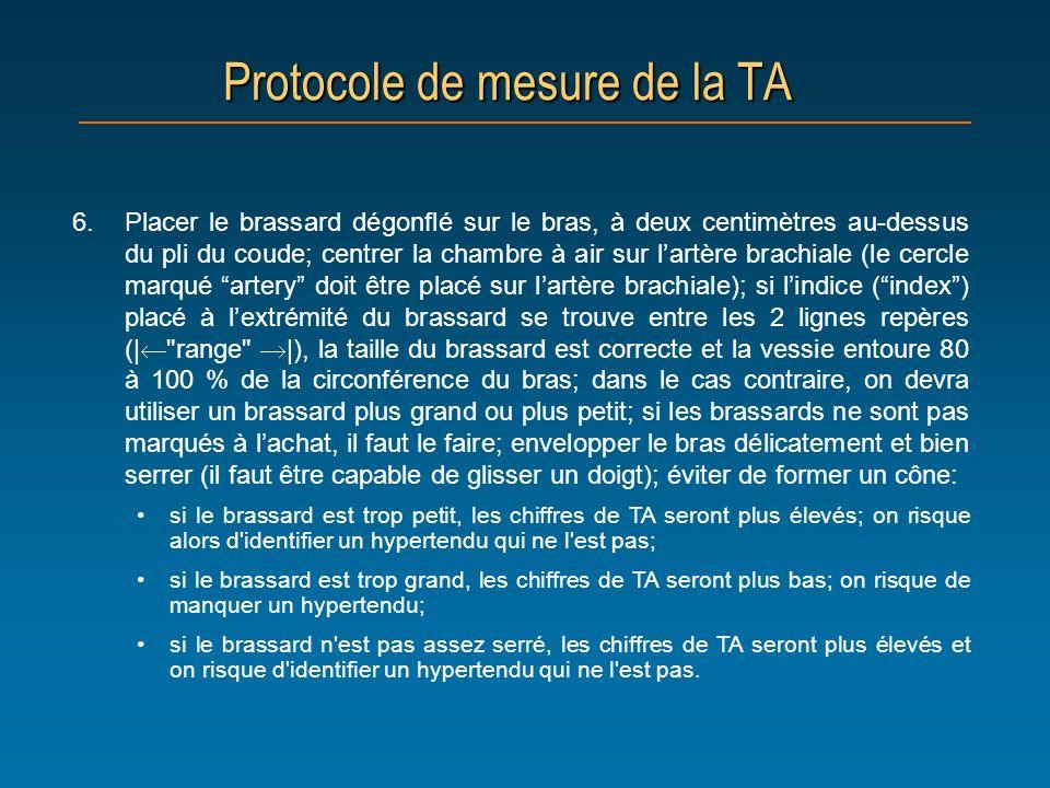 Protocole de mesure de la TA 6.Placer le brassard dégonflé sur le bras, à deux centimètres au-dessus du pli du coude; centrer la chambre à air sur lar
