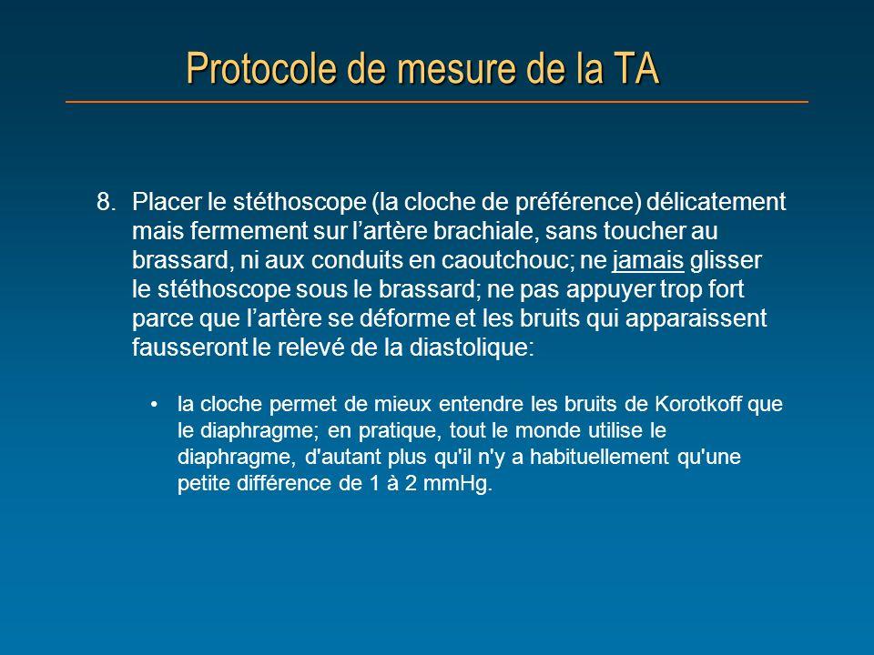 Protocole de mesure de la TA 8.Placer le stéthoscope (la cloche de préférence) délicatement mais fermement sur lartère brachiale, sans toucher au bras