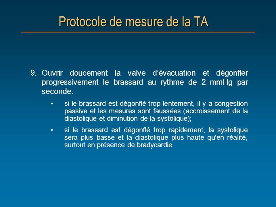 Protocole de mesure de la TA 9.Ouvrir doucement la valve dévacuation et dégonfler progressivement le brassard au rythme de 2 mmHg par seconde: si le b