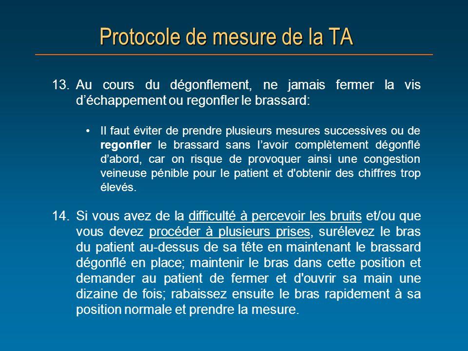 Protocole de mesure de la TA 13.Au cours du dégonflement, ne jamais fermer la vis déchappement ou regonfler le brassard: Il faut éviter de prendre plu